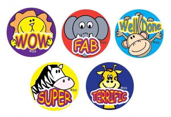 Teacher Stickers- Cartoon Animals Praise (180 pack)