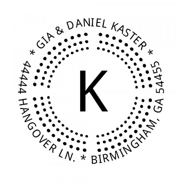 Monogram stamp round - No  6