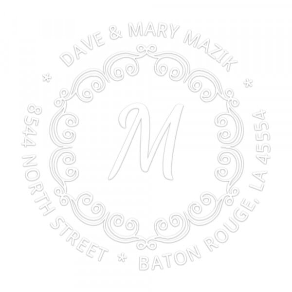 Flowing Border Round Monogram Seal