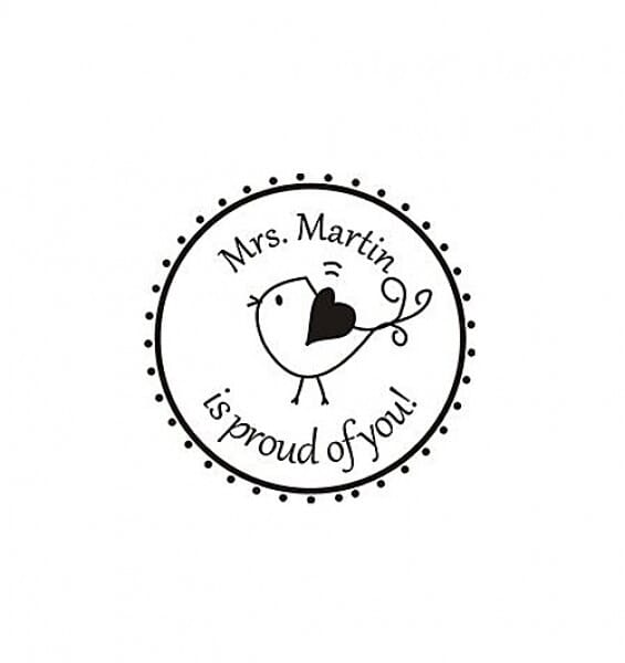 Personalised teacher stamp round