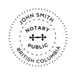 Colombie-Britannique Canada Tampon de notaire - 1 5/8'' diamètre