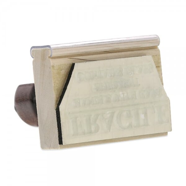 "Rubber Stamp - wood - 1-3/8"" X 2-1/2"" up to six lines"