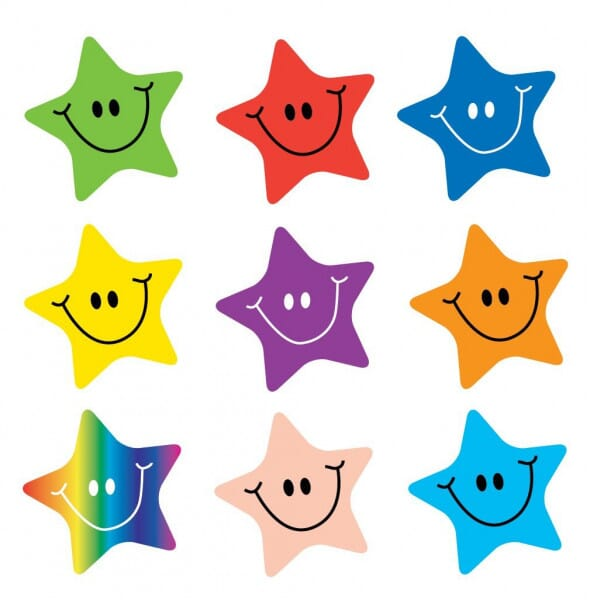 Teacher Stickers- Smiley star (180 pack)