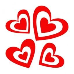 Trodat Printy 4921 - S-Printy - Stock Stamp - Valentine- Four hearts