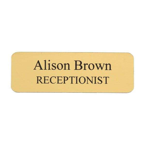 "Custom Engraved Name Badge- Metal 1"" x 3"""